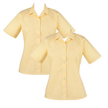 Buy Girls' School Open Neck Short Sleeve Blouse, Pack of 2, Gold Online at johnlewis.com