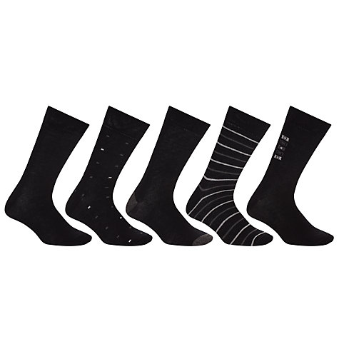 Buy John Lewis City Socks, Pack of 5, Black Online at johnlewis.com