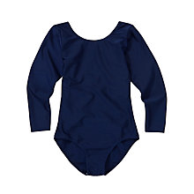 Buy Girls' School Long Sleeve Leotard, Navy Online at johnlewis.com