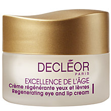 Buy Decléor Excellence De L'Age Regenerating Eye And Lip Cream, 15ml Online at johnlewis.com