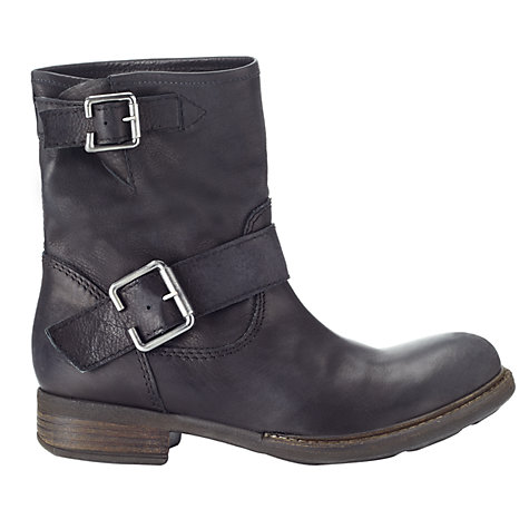 Buy Jigsaw Marco Buckle Biker Ankle Boots, Black Online at johnlewis.com