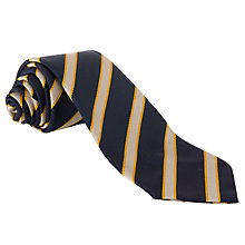 Buy St John's Senior School Boys Striped Tie, Navy/Yellow Online at johnlewis.com