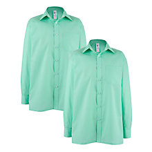 Buy Regents Park Community College Boys' Long Sleeved Shirt, Pack of 2, Green Online at johnlewis.com