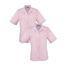 Buy Girls' School Short Sleeve Rever Collar Striped Blouse, Pack of 2, Red/White Online at johnlewis.com