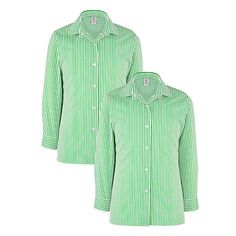 Buy Stormont School Girls' Stripe Blouse, Pack of 2, Green/White Online at johnlewis.com