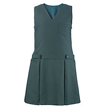Buy Girls' V-Neck Pleated School Tunic, Bottle Green Online at johnlewis.com