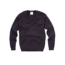 Buy Plain Unisex School V-Neck Acrylic Jumper, Navy Online at johnlewis.com