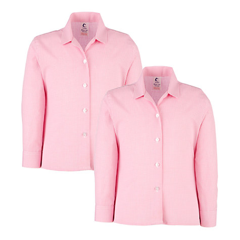 Buy Girls' School Long Sleeve Revere Collar Checked Blouse, Pack of 2, Pink/White Online at johnlewis.com