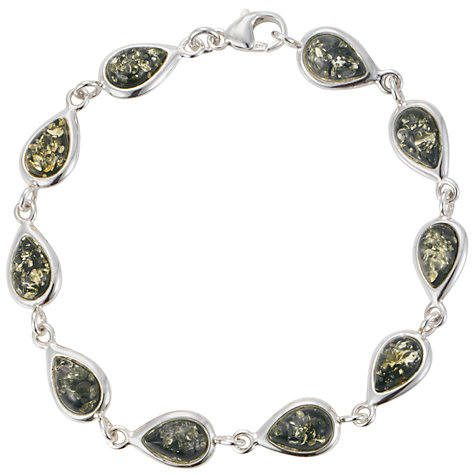 Buy Goldmajor Green Amber Silver Teardrop Bracelet Online at johnlewis.com