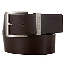 Buy BOSS Bud Leather Belt, Brown Online at johnlewis.com
