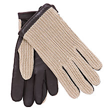Buy John Lewis Crochet Back Wool Lined Leather Driving Gloves, Brown/Cream Online at johnlewis.com