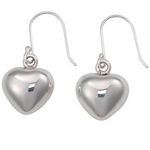 Buy Andea Silver Puffed Heart Drop Earrings Online at johnlewis.com