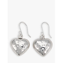 Buy Andea Hammered Puffed Heart Drop Earrings, Silver Online at johnlewis.com