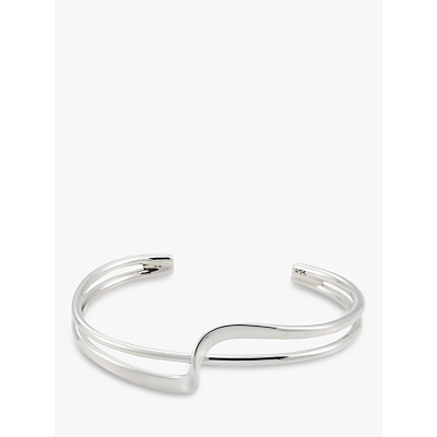 Andea Double Twist Half Bangle, Silver
