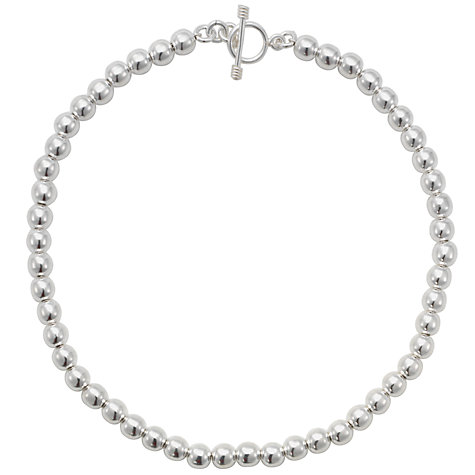 Buy Andea Silver Round Bead Necklace, Silver Online at johnlewis.com