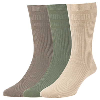 HJ Hall Cotton Softop Socks, Pack of 3, One Size, Olive/Taupe