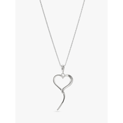 Andea Open Heart Pendant Necklace, Silver