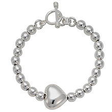 Buy Andea Silver Puffed Heart Beaded Bracelet Online at johnlewis.com