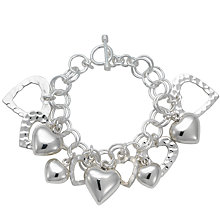 Buy Andea Silver Multi-Heart Charm Bracelet Online at johnlewis.com