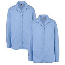 Buy Girls' School Long Sleeve Open Neck Blouse, Pack Of 2, Blue/White Online at johnlewis.com