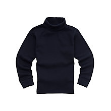Buy Girls' Roll Neck School Top, Navy Online at johnlewis.com