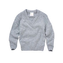 Buy Plain Unisex V-Neck School Jumper, Grey Online at johnlewis.com