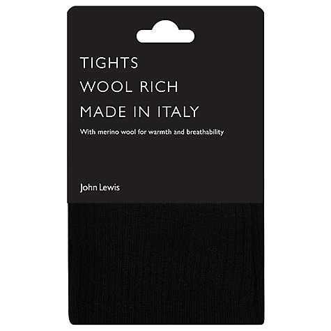 Buy John Lewis Ribbed Wool Tights, Black Online at johnlewis.com