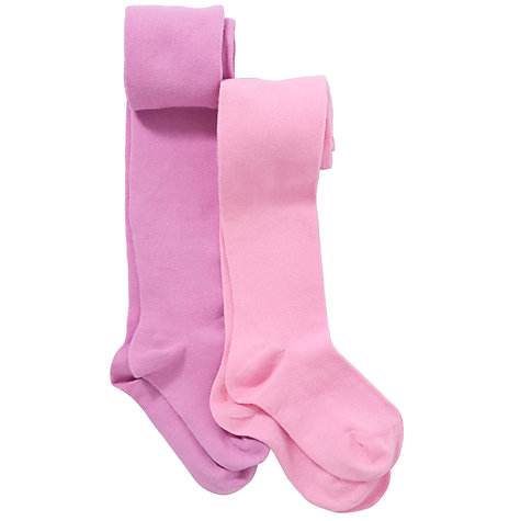 Buy John Lewis Girl Cotton Tights, Pack of 2, Pink/Lilac Online at johnlewis.com