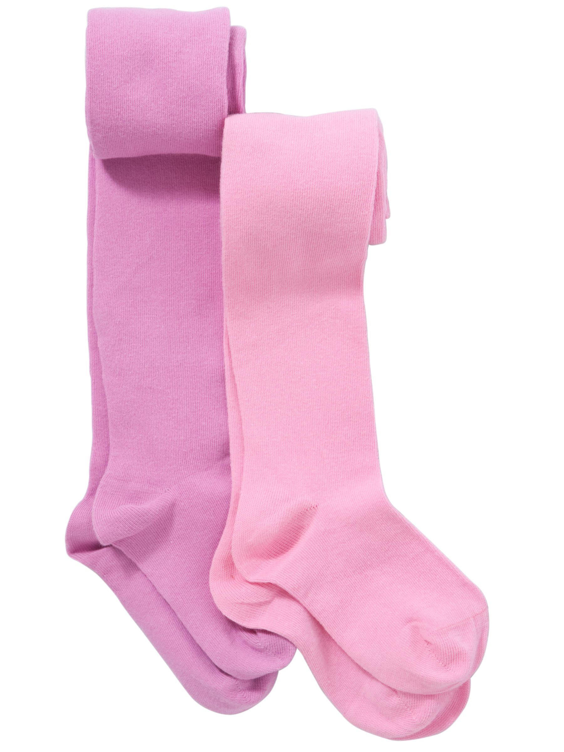John Lewis Girl Plain Tights, Pack of 2, Pink/Lilac