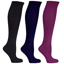Buy John Lewis Women Cotton Rich Knee High Socks, Pack of 3 Online at johnlewis.com