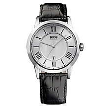 Buy BOSS HB-1004 Men's Leather Strap Watch, Black / Silver Online at johnlewis.com