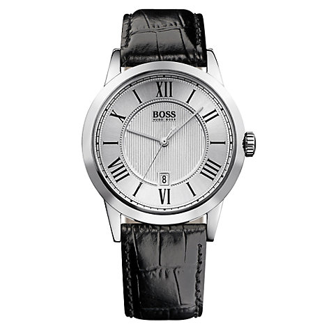 Buy Hugo Boss HB-1004 Men's Leather Strap Watch, Black / Silver Online at johnlewis.com