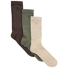 Buy Polo Ralph Lauren Classic Crew Socks, Pack of 3, One Size, Neutrals Online at johnlewis.com