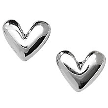 Buy Linda Macdonald Puffed Silver Heart Stud Earrings Online at johnlewis.com