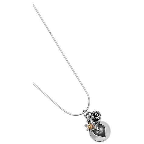 Buy Linda Macdonald Silver Heart and Rose Pendant Necklace Online at johnlewis.com
