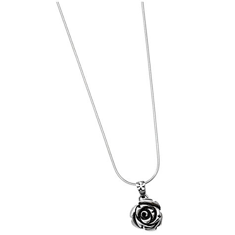 Buy Linda Macdonald Large Silver Rose Pendant Necklace Online at johnlewis.com