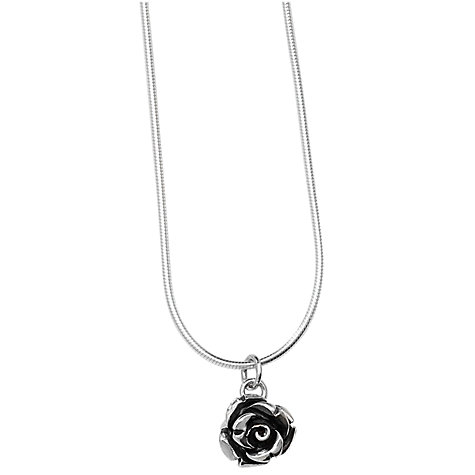 Buy Linda Macdonald Small Silver Rose Pendant Necklace Online at johnlewis.com