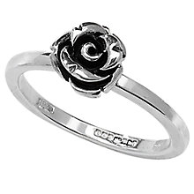 Buy Linda Macdonald Oxidised Silver Rose Ring Online at johnlewis.com