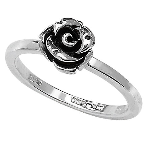 Buy Linda Macdonald Oxidised Silver Rose Ring, N Online at johnlewis.com