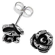 Buy Linda Macdonald Oxidised Silver Rose Stud Earrings Online at johnlewis.com