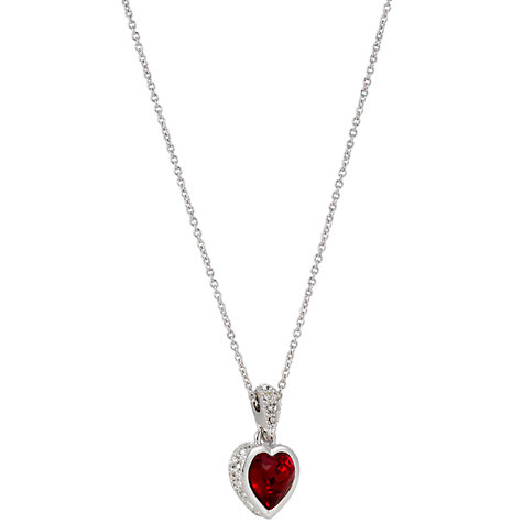 Buy Cachet London Zazu Rhodium & Siam Heart Pendant Necklace Online at johnlewis.com