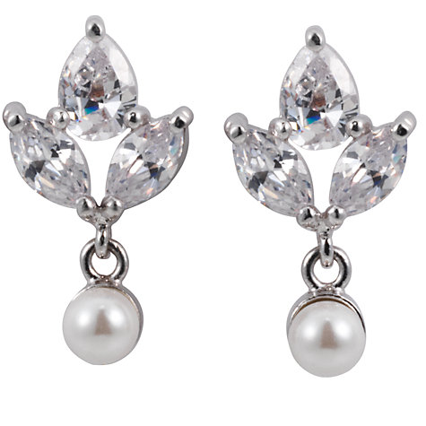 Buy Finesse Crowned Pearl and Cubic Zirconia Stud Earrings Online at johnlewis.com