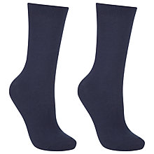 Buy John Lewis Pure Egyptian Cotton Ankle Socks, Pack of 2, Navy Online at johnlewis.com