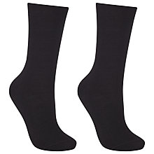 Buy John Lewis Merino Wool Mix Ankle Socks, Pack of 2, Black Online at johnlewis.com