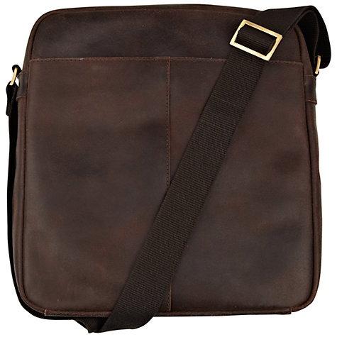 Buy John Lewis Rio Oiled Leather Reporter Bag, Brown Online at johnlewis.com