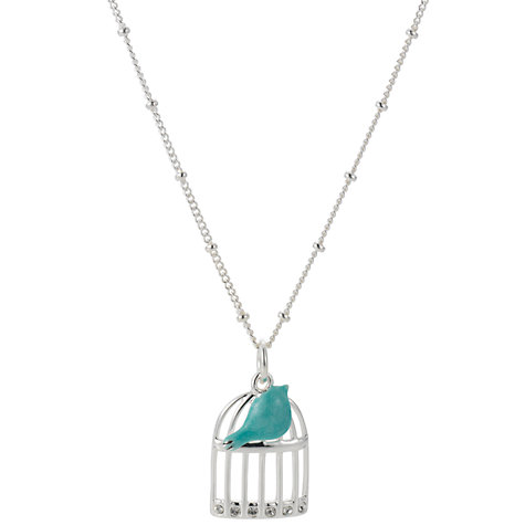 Buy Martick Enamel Silver Birdcage Pendant Necklace Online at johnlewis.com