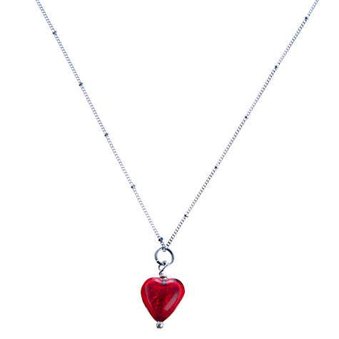 Buy Martick Cranberry Murano Heart Pendant Necklace Online at johnlewis.com