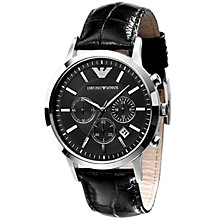 Buy Emporio Armani AR2447 Round Dial Black Leather Strap Watch Online at johnlewis.com