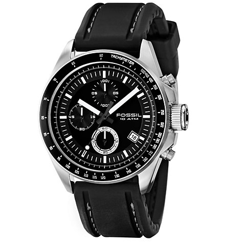 Buy Fossil CH2573 Men's Decker Chronograph Silicone Strap Watch, Black Online at johnlewis.com