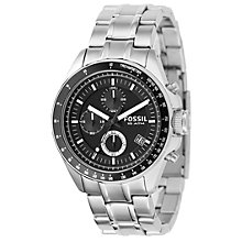 Buy Fossil CH2600IE Men's Decker Chronograph Bracelet Strap Watch, Silver/Black Online at johnlewis.com